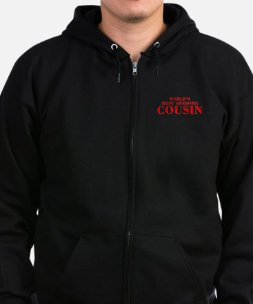 WORLDS MOST AWESOME Cousin-Bod red 300 Zip Hoodie