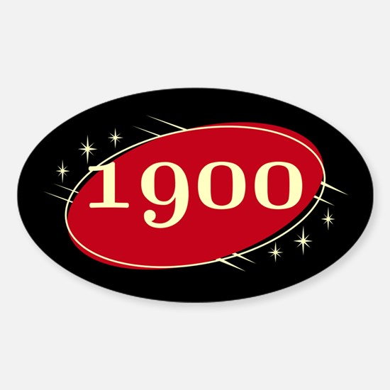 Year 1900 Black/Red Neo Retro Oval Decal