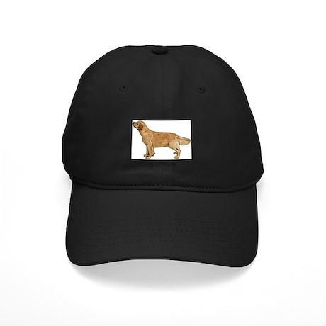 Golden Retriever Line Art Black Cap