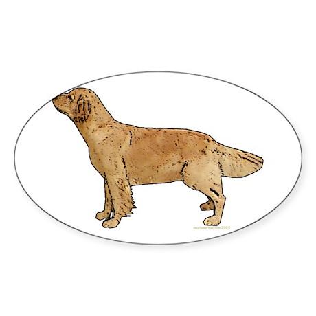 Golden Retriever Line Art Oval Sticker