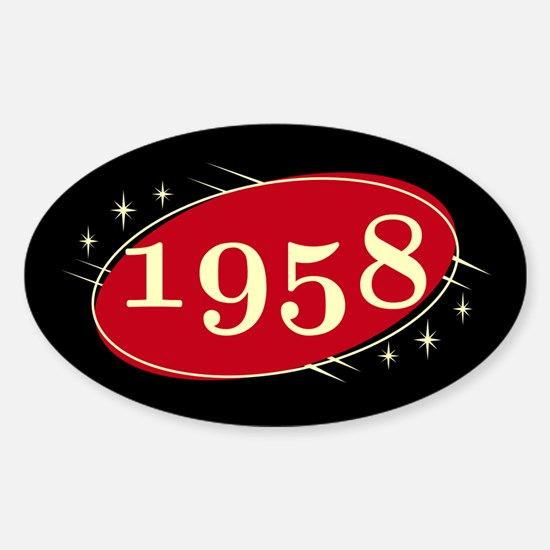 Year 1958 Black/Red Neo Retro Oval Decal