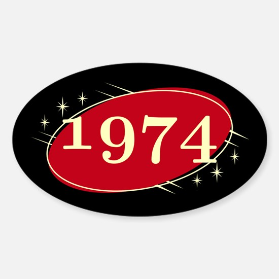 Year 1974 Black/Red Neo Retro Oval Decal
