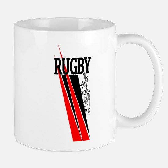 Rugby Line Out Red Black Mugs