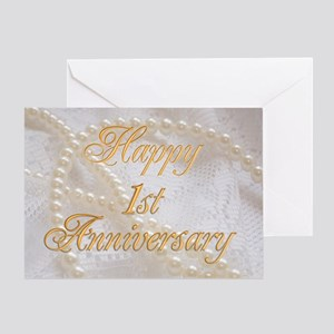 1st Anniversary card with pearls and lace Greeting