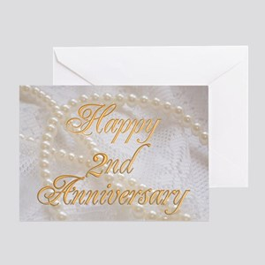 2nd anniversary greeting cards cafepress 2nd anniversary card with pearls and lace greeting m4hsunfo