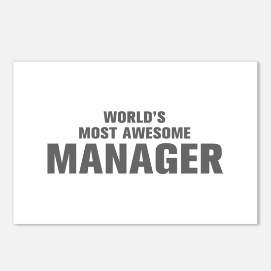 WORLDS MOST AWESOME Manager-Akz gray 500 Postcards