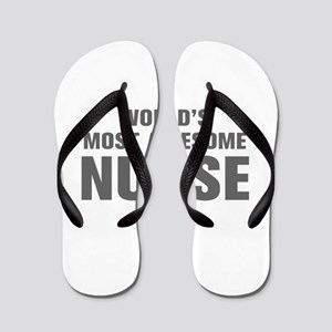 WORLDS MOST AWESOME Nurse-Akz gray 500 Flip Flops