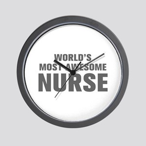 WORLDS MOST AWESOME Nurse-Akz gray 500 Wall Clock