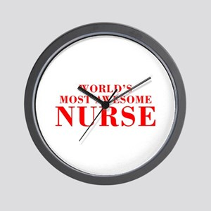 WORLDS MOST AWESOME Nurse-Bod red 300 Wall Clock