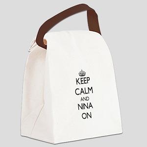 Keep Calm and Nina ON Canvas Lunch Bag