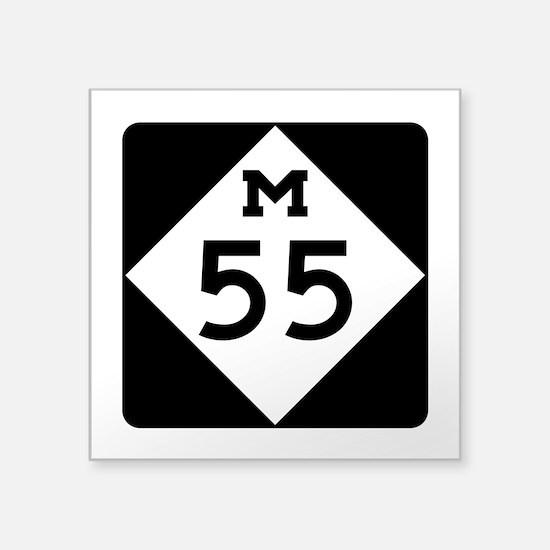 """M-55, Michigan Square Sticker 3"""" x 3"""""""