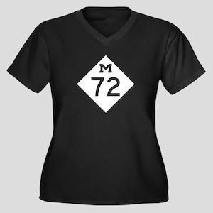 M-72, Michig Women's Plus Size V-Neck Dark T-Shirt