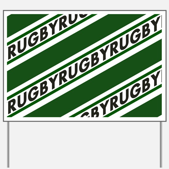 Rugby Striped green white Yard Sign