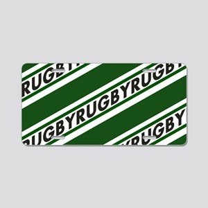 Rugby Striped green white Aluminum License Plate