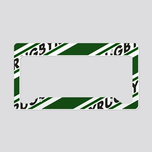 Rugby Striped green white License Plate Holder