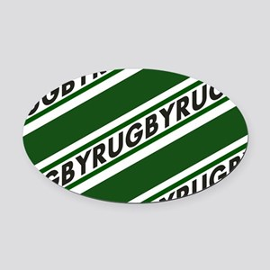 Rugby Striped green white Oval Car Magnet