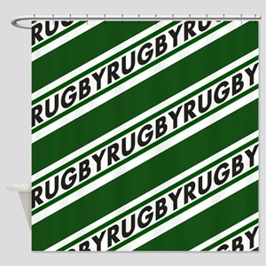 Rugby Striped green white Shower Curtain