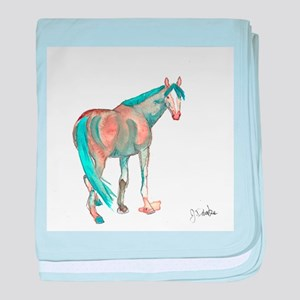 Abstract Watercolor Horse Painting baby blanket