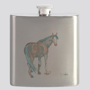 Abstract Watercolor Horse Painting Flask