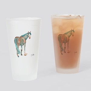 Abstract Watercolor Horse Painting Drinking Glass