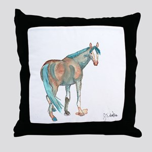 Abstract Watercolor Horse Painting Throw Pillow