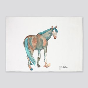 Abstract Watercolor Horse Painting 5'x7'Area Rug