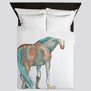 Abstract Watercolor Horse Painting Queen Duvet