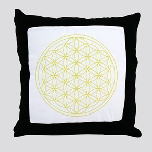 Flower Of Life Yellow Throw Pillow