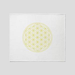 Flower Of Life Yellow Throw Blanket