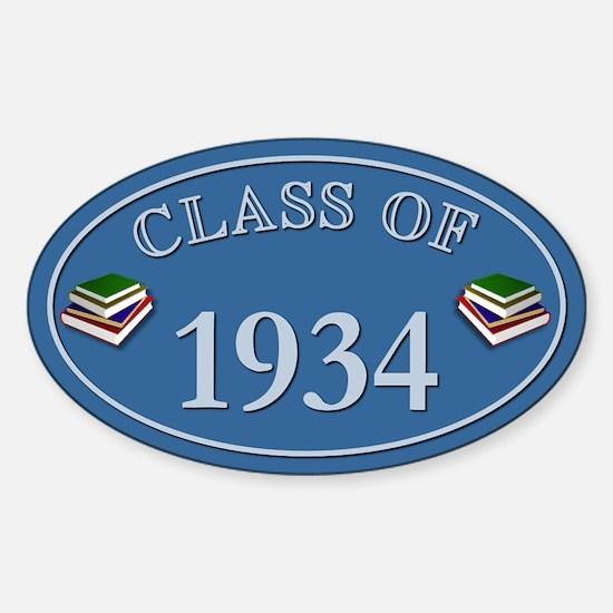 Class Of 1934 Blue Vinyl Oval Decal