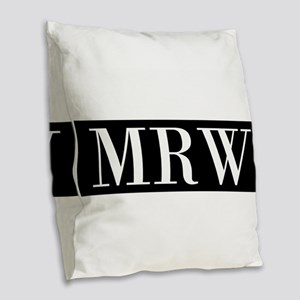 Your Initials Here Monogram Burlap Throw Pillow