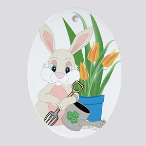 March Gardening Rabbit Ornament (Oval)