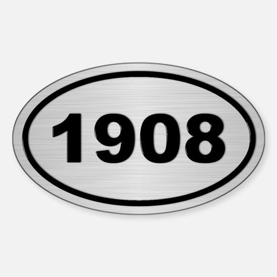 1908 Steel Grey Oval Vinyl Decal