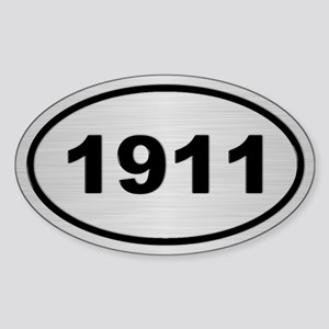 1911 Steel Grey Oval Vinyl Sticker