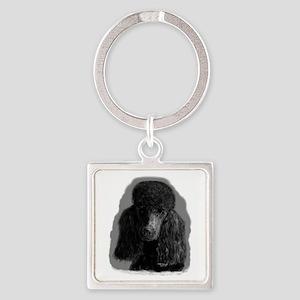black standard poodle Keychains
