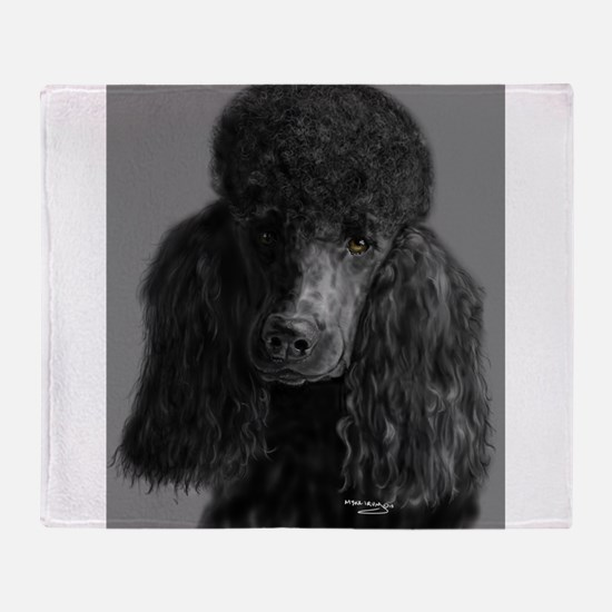 standard poodle black Throw Blanket