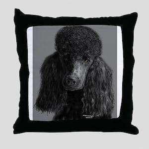 standard poodle black Throw Pillow