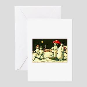 Vintage Kitsch - Snowman Family Christmas Greeting