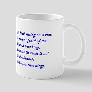 A BIRD SITTING... Large Mugs