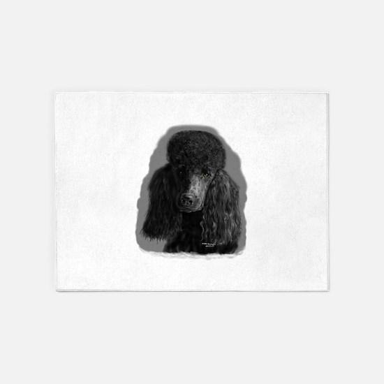 black standard poodle 5'x7'Area Rug