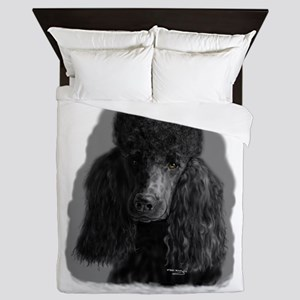 black standard poodle Queen Duvet