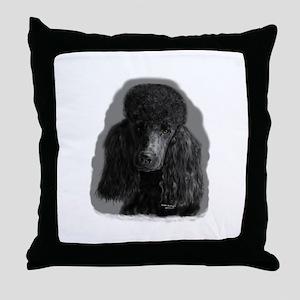 black standard poodle Throw Pillow