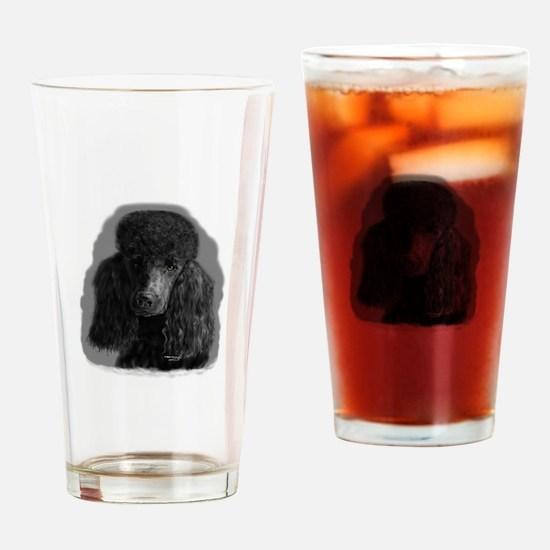 black standard poodle Drinking Glass