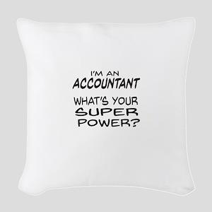 Accountant Super Power Woven Throw Pillow