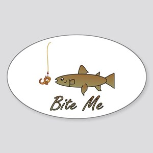 Bite Me Fish Oval Sticker