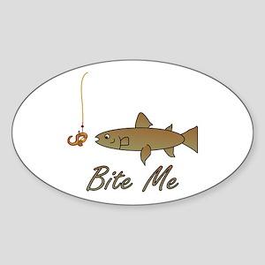 Bite Me Fish Oval Sticker