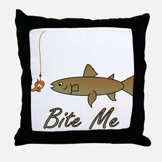 Bite Me Fish Throw Pillow