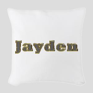 Jayden Gold Diamond Bling Woven Throw Pillow