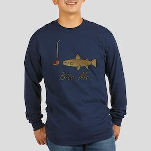 Bite Me Fish Long Sleeve Dark T-Shirt