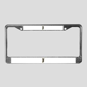 J Gold Diamond Bling License Plate Frame